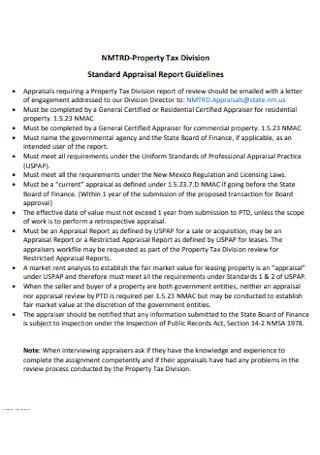 Standard Appraisal Report
