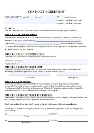 Standard Contract Agreement