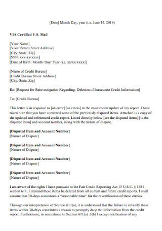 Standard Credit Dispute Letter