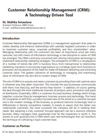 Standard Customer Relationship Management