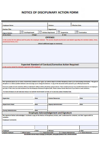 Standard Employee Disciplinary Action Form