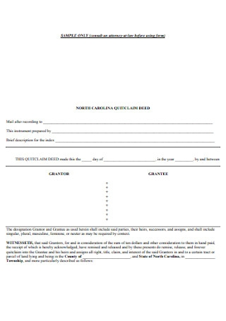 Standard Quit Calm Deed Form
