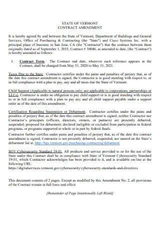 State of Vermont Contract Amendment