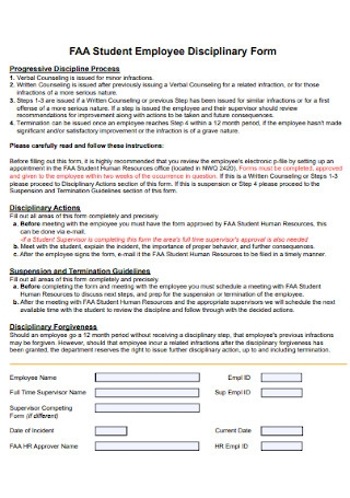 Student Employee Disciplinary Form