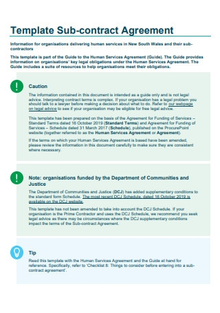Sub contract Agreement Template