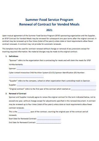 Summer Food Service Program Contract