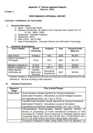 Teacher Performance Appraisal Reports