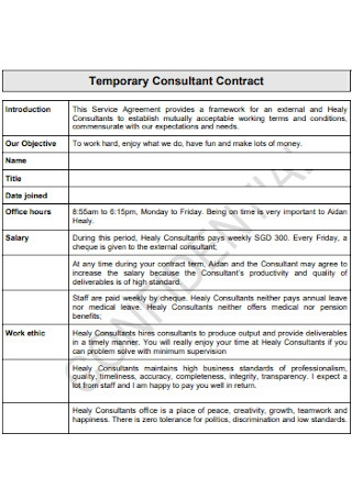 Temporary Consultant Contract