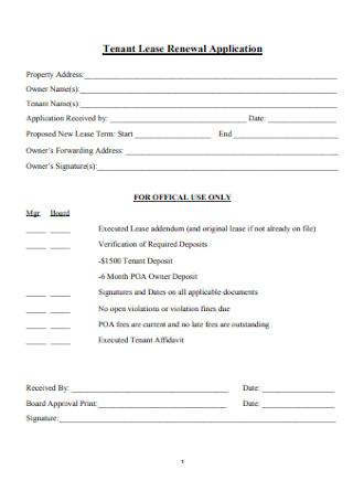 Tenant Lease Renewal Application Form
