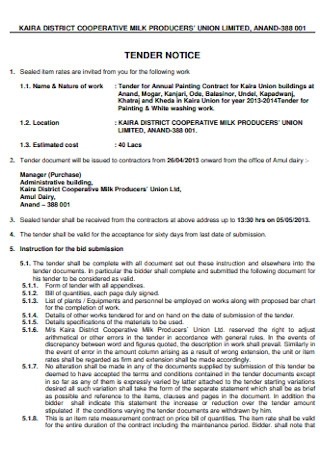 Tender for Annual Painting Contract