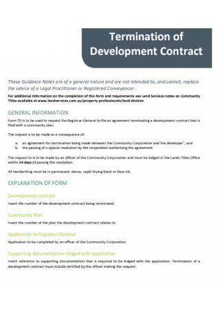 Termination of Development Contract