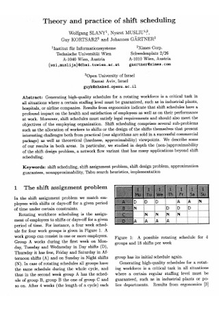 Theory and Practice of Shift Scheduling