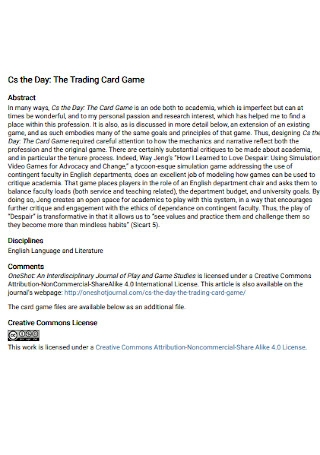 Trading Card Game Template