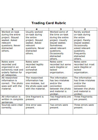 Trading Card Rubric Example