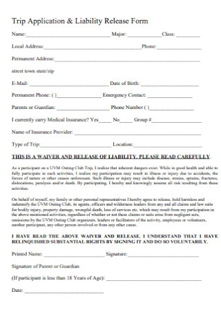 Trip Application and Liability Release Form