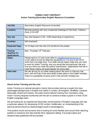 Tutoring Consultant Contract