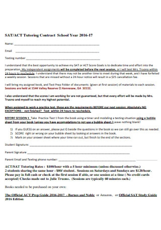 Tutoring Contract for School Year