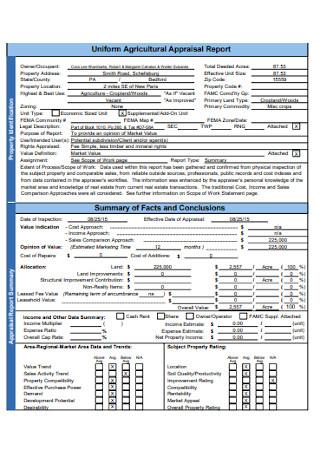Uniform Agriculture Appraisal Report