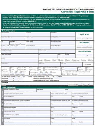 Universal Reporting Form