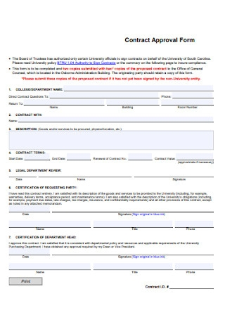 University Contract Approval Form