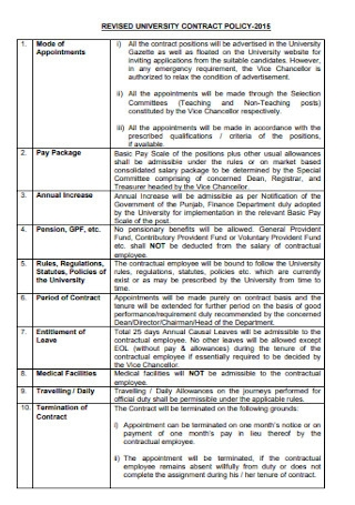 University Contract Policy Template