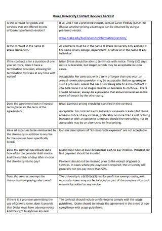 University Contract Review Checklist