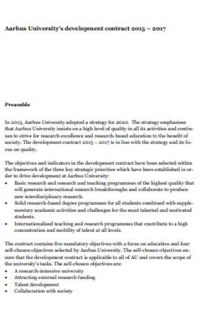 University Development Contract