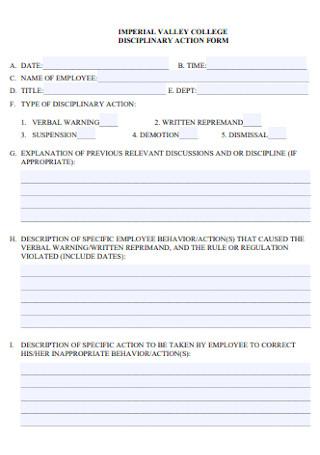University Employee Disciplinary Action Form