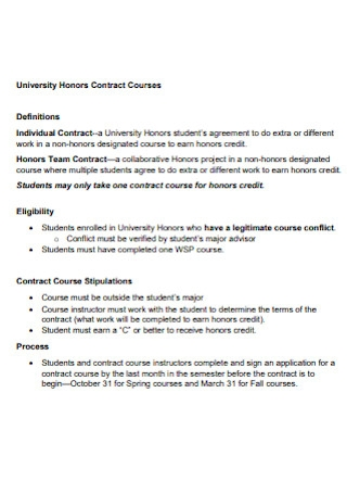 University Honors Contract Courses