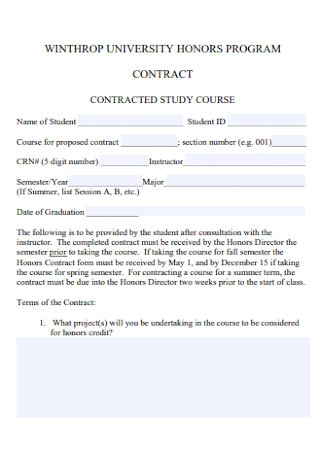 University Honors Program Contract