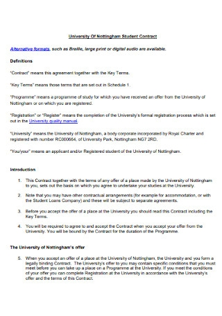 University Of Student Contract