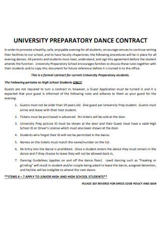 University Preporatory Damce Contract