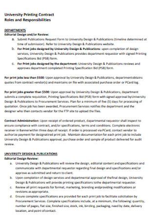 University Printing Contract
