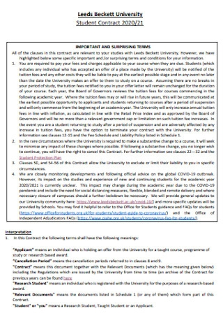 University Student Contract