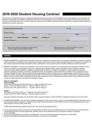 University Student Housing Contract