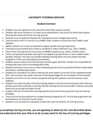 University Tutoring Service Contract