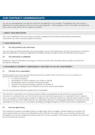 University Undergraduate Contract