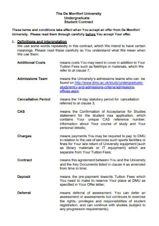 University Undergraduate Student Contract