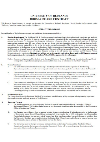 University of Board Contract