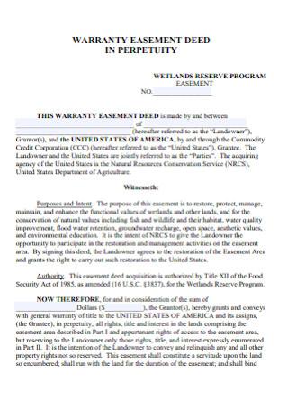 Warratny Easement Deed
