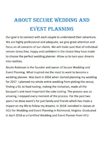 Wedding and Event Palnning Contract