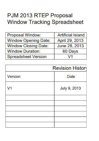 Window Tracking Spreadsheet