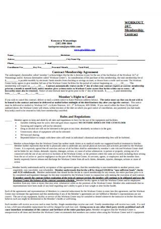 Workout Membershiip Contract