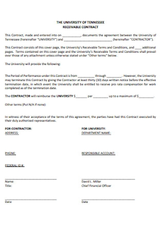 university of Tennessee Receivable Contract