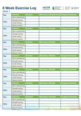 8 Week Exercise Log