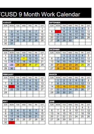 9 Months Work Calendar
