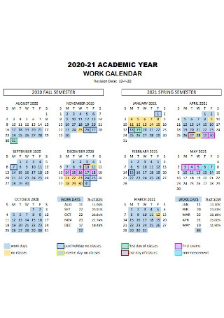 Academic Work Calendar