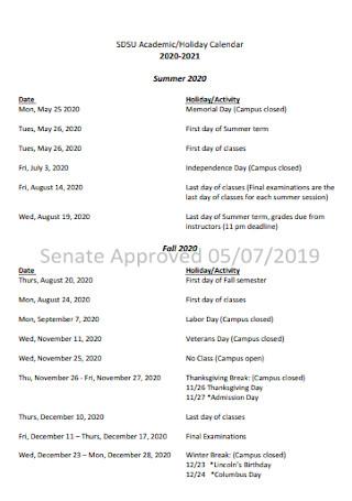 Academic and Holiday Calendar