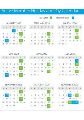 Active Member Holiday and Pay Calendar
