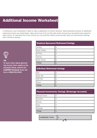 Additional Income Worksheet